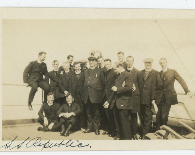 "Vintage Snapshot Photo: Clergymen, ""S.S. Republic"" c1930s (75575)"