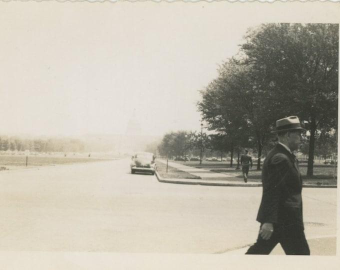 Men Walking, Capitol Building, c1940s Vintage Snapshot Photo [811744]