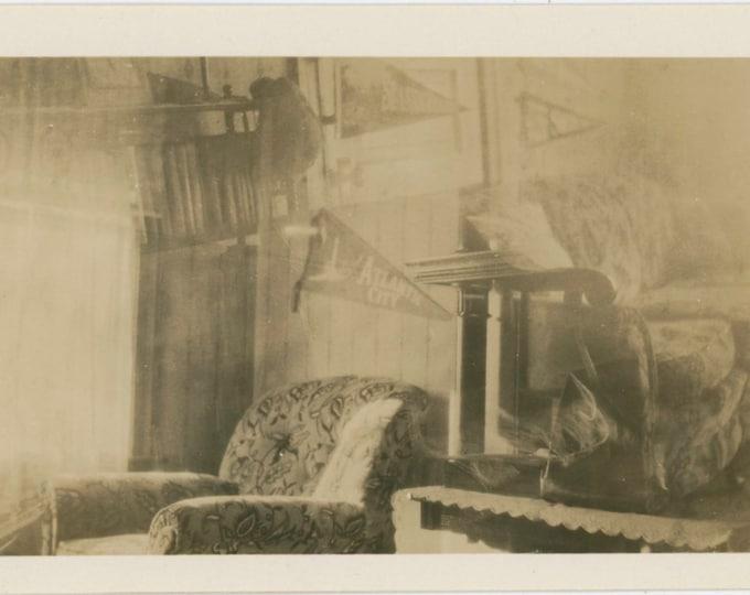 Triple Exposure Vintage Snapshot Photo: Room Interior, Atlantic City Pennant, c1910s [812755]