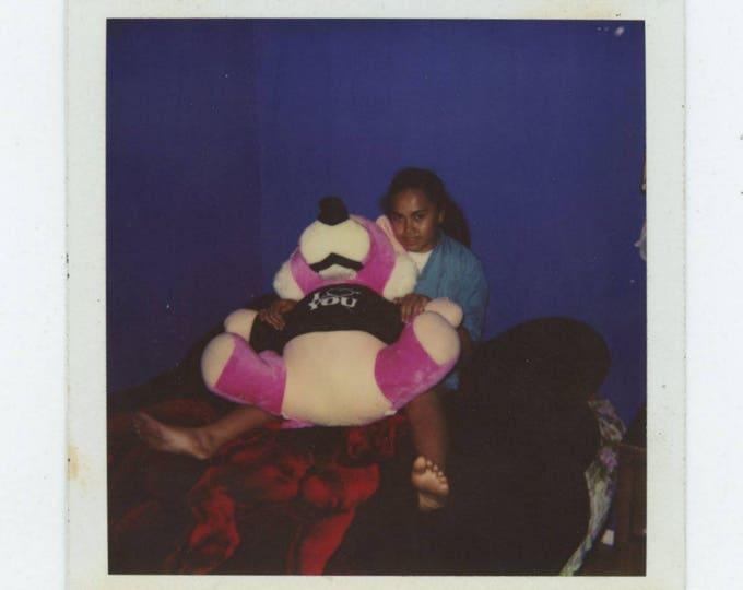 """Vintage Polaroid SX-70 Snapshot Photo: """"I Love You"""" Bear [81644]"""