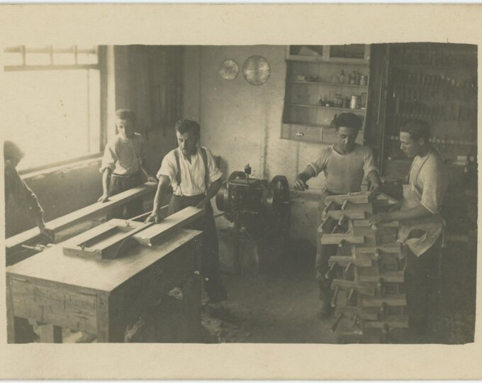 Furniture Factory, Varna, Bulgaria, 1928: Vintage Snapshot Photo (87699)