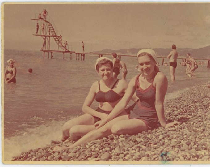 Women on Beach, Sochi, USSR, 1953 Vintage Snapshot Photo [811744]