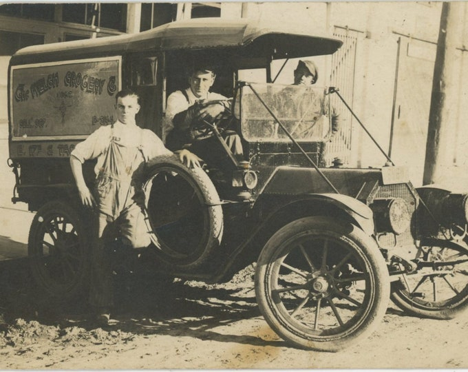 Grocery Delivery Truck, c1910s: Vintage Snapshot Photo RPPC [810733]