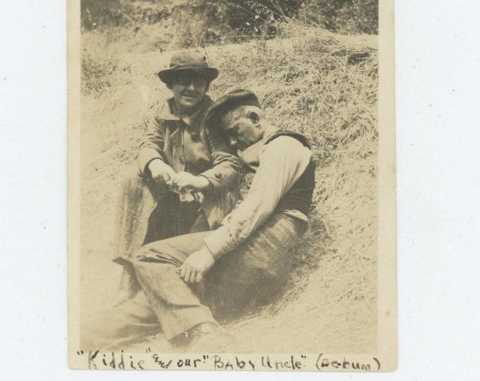 "Vintage Snapshot Photo, c1910s-20s: ""Kiddie & our Baby Uncle (de bum)"" [84664]"
