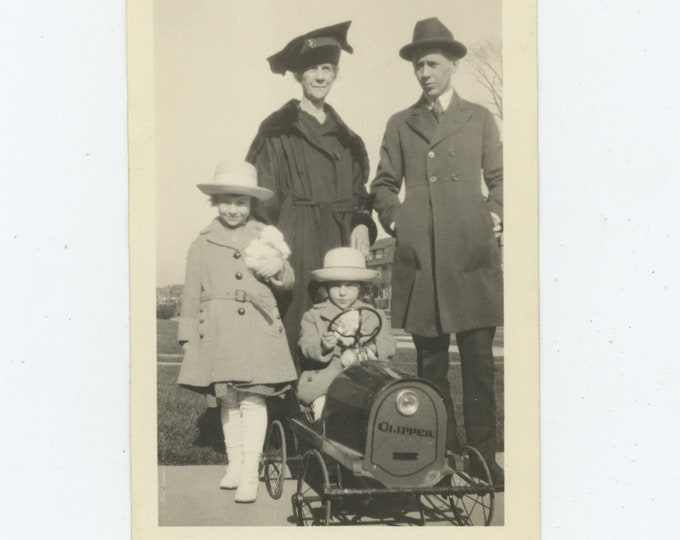 Vintage Snapshot Photo: Twin Girls & Clipper Pedal Car, c1910s-20s [86694]