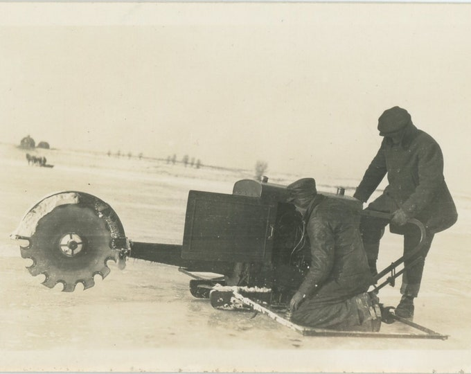 Vintage Snapshot Photo: Ice Saw (87702)