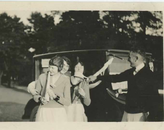 Vintage Snapshot Photo: Collegiate Group with Noisemakers, 1920s. [811740]