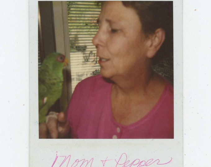 Vintage SX-70 Polaroid Snapshot Photo: Mom & Pepper (89722)