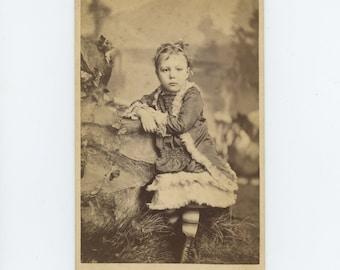 Victorian Cabinet Card 1800s: Young Girl [ID'd as Eva Sprague] L.W. Zuver Studio, Duke Centre, PA (71549)
