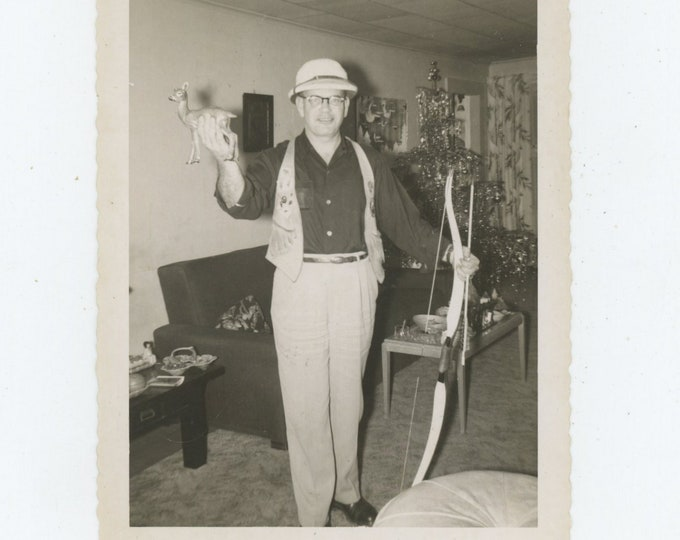 Vintage Snapshot Photo: Bow Hunter & Toy Deer, c1950s [88719]