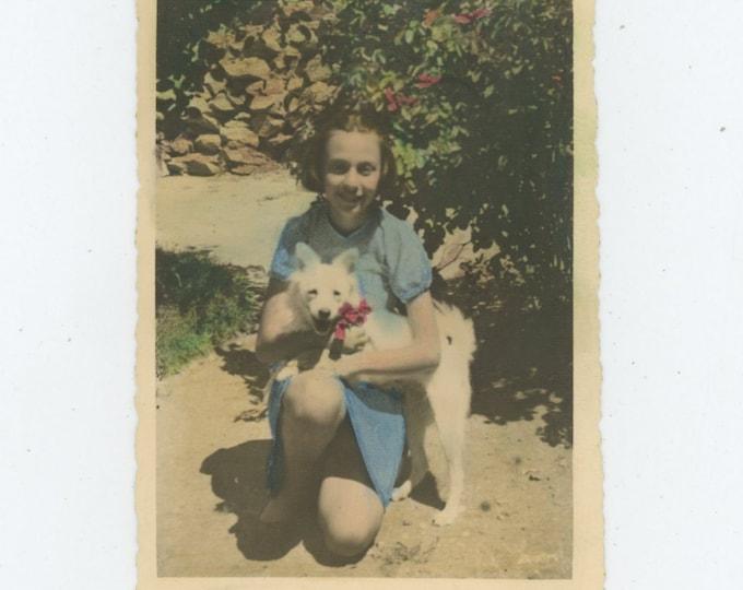 Vintage Hand-Tinted Snapshot Photo: Girl with Dog, Turkey [86697]