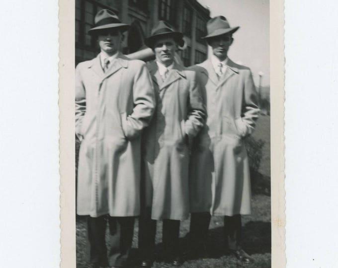 Vintage Snapshot Photo: Men in Coats, c1940s (710614)