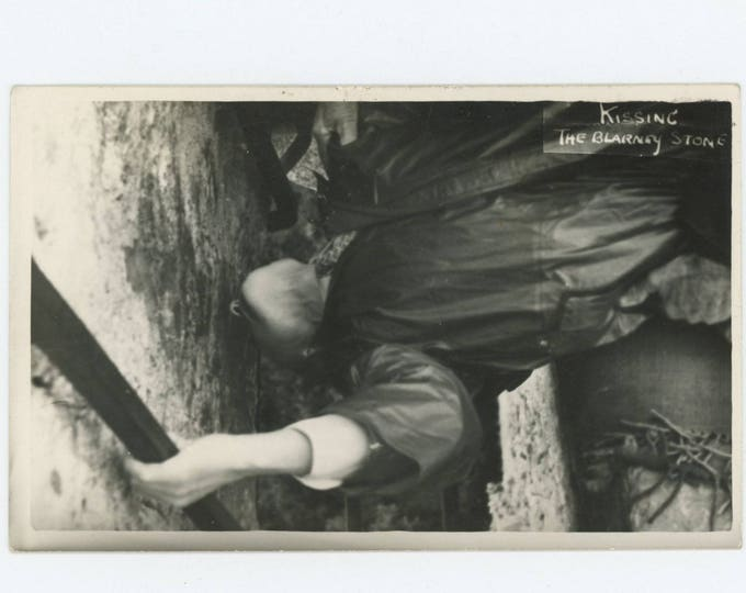 Kissing the Blarney Stone: Vintage Snapshot Photo (76585)