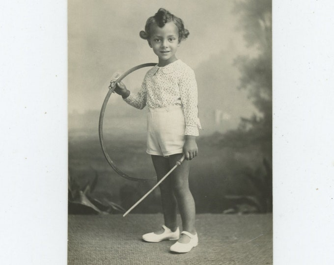 Vintage Portrait Photo: Small Boy, Curls with Hoop & Stick, Campobasso, Italy 1930s [89722]