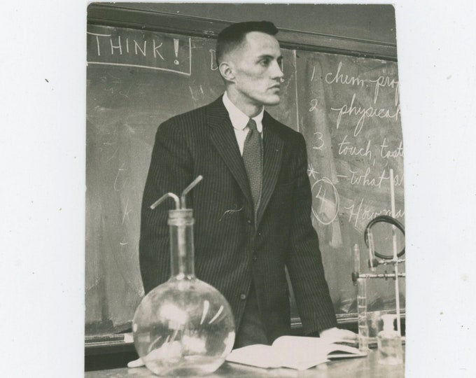 "Vintage Snapshot Photo: ""Think!"" Science Teacher, 1958 [91766]"