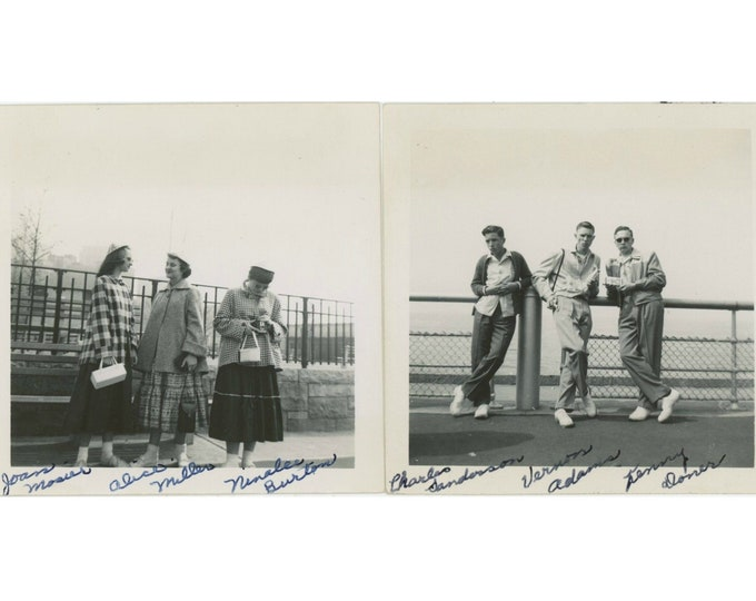 Set of 2 Vintage Snapshot Photos: Three Gals, Three Guys, 1950s [811743]