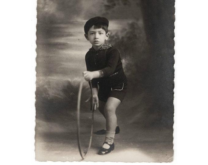 Vintage Portrait Photo: Young Boy with Hoop, London Photo Studio, Cairo ,1920s-30s [811739]