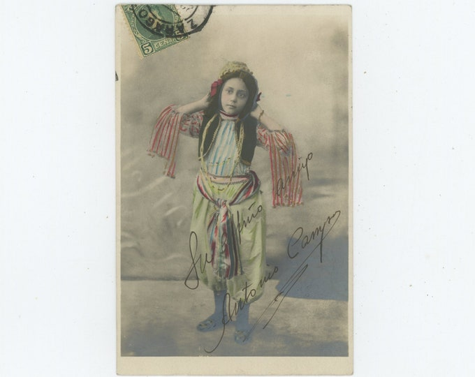 Young Dancer, Spain, c1900: Hand-Tinted Vintage Studio Photo RPPC (88717)