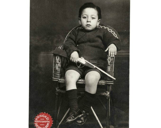 Studio Portrait Photo, Shibin El Kom, Nile Delta: Boy with Rifle [811743]