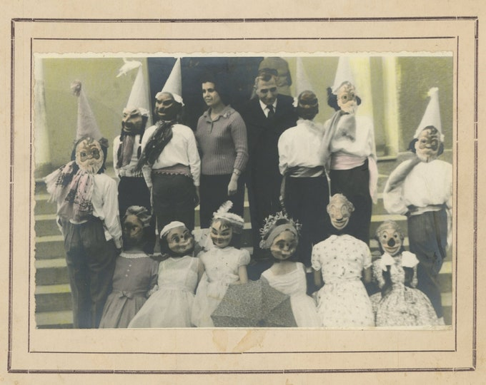 Surreal Costumed Children: Vintage Tinted 8 x10 Snapshot Photo Enlargement [87698 O/S]
