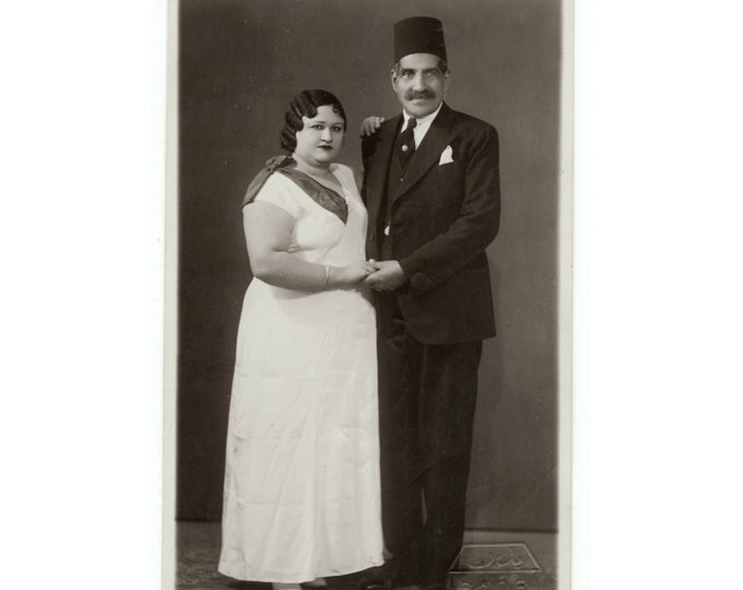 Vintage Portrait Photo: Bride & Groom, Badr Studio, Cairo, 1920s [811740]