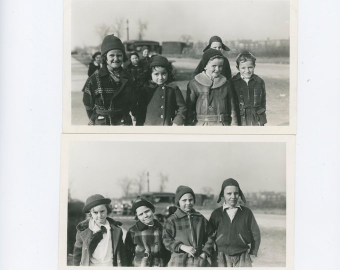 Two Vintage Snapshot Photos [Diptych]: Gang of Kids, 1937 [811738]