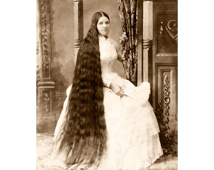 Young Woman with Long Hair. Ottawa, Ontario, 1800s. Restored and Enlarged Archival Photo Reprint from the RetroGraphic Gallery Collection