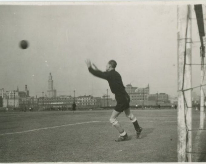 Vintage Snapshot Mini-Photo, c1930s: Goalkeeper [84663]