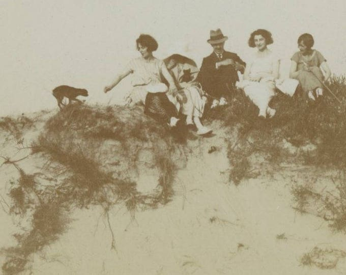 Beach Party, Early 1900s: Vintage Snapshot Photo [81643]