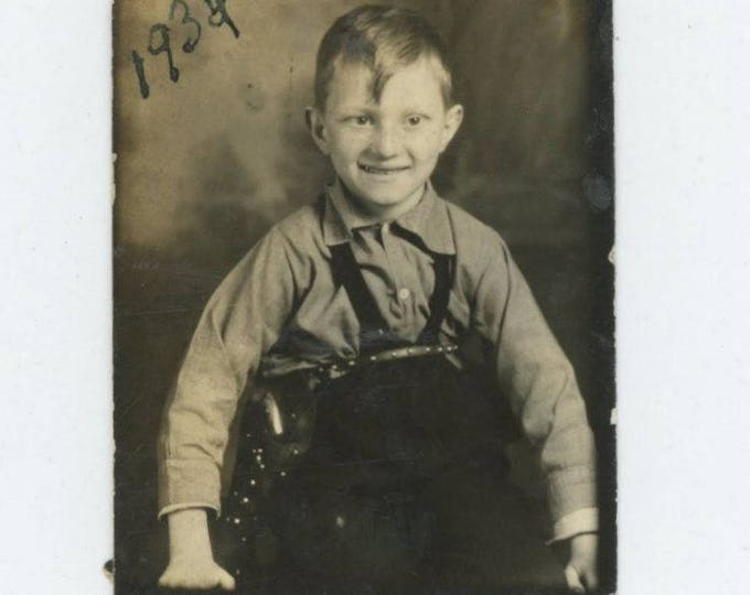 Vintage Arcade Photo Booth: Small Boy with Toy Gun in Holster, 1934 (712631)
