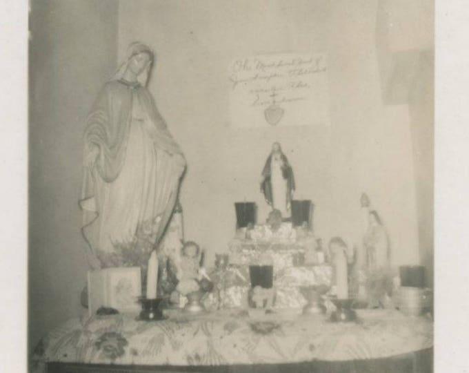 Catholic Shrine: Vintage Snapshot Photo (75584)