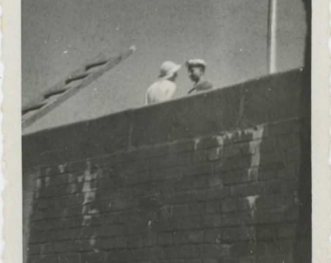 Vintage Snapshot Photo: Rooftop Rendezvous [84669]