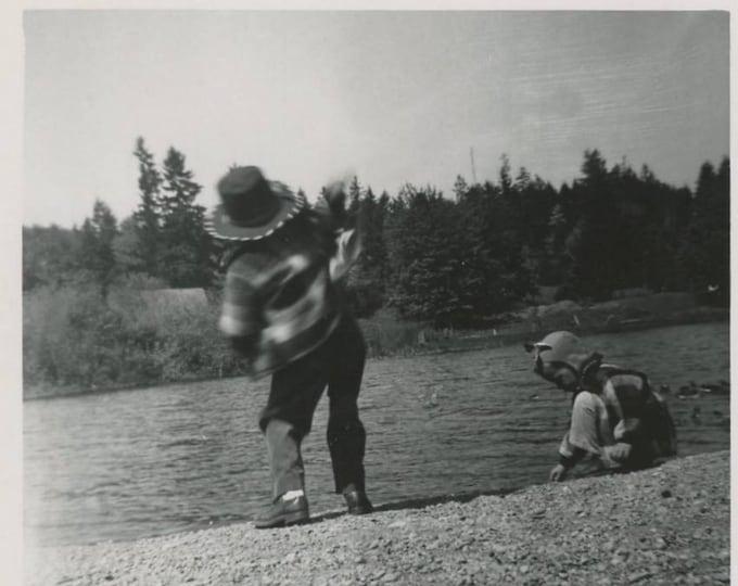 Vintage Snapshot Photo: Kids Playing at Water's Edge, c1950s (75574)