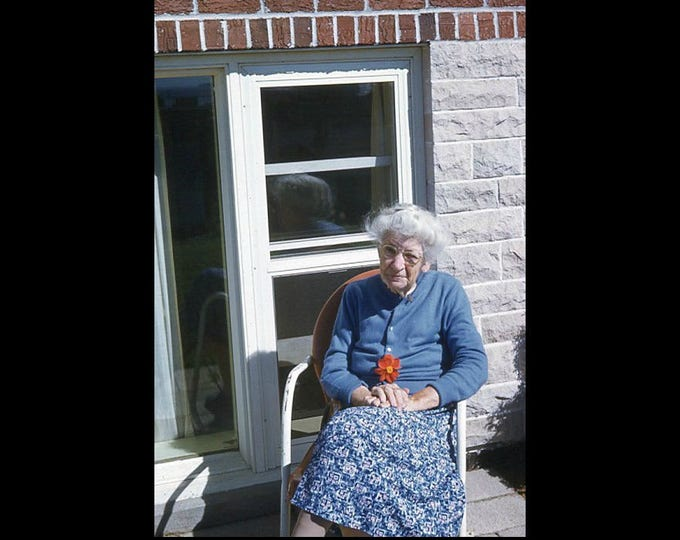 Elderly Woman, Flower, 1950s: Kodachrome Red Border 35mm Slide/Transparency Vintage Photo Snapshot (7316-38)