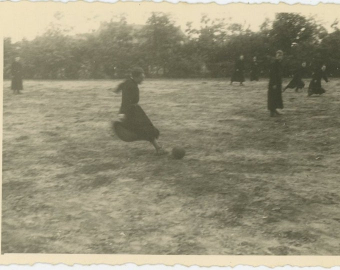 Priests Playing Soccer, France, 1942: Vintage Snapshot Photo [811743]
