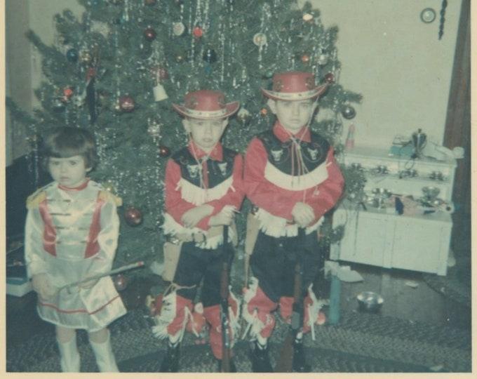 Christmas Cowboys, 1965: Vintage Snapshot Photo [811748]