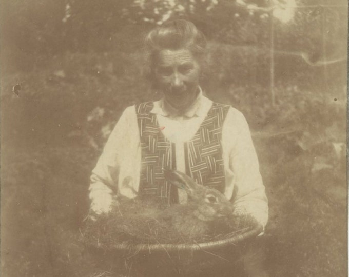 Bunny in a Basket: Vintage Snapshot Photo [85672]