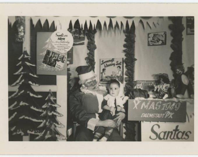 Vintage Snapshot Photo: Creepy Santa, Darmstadt PX, 1949 (79608)