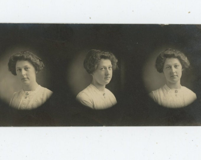 Arcade/Portrait Studio Photo Strip, Early 1900s: Young Woman [89725]
