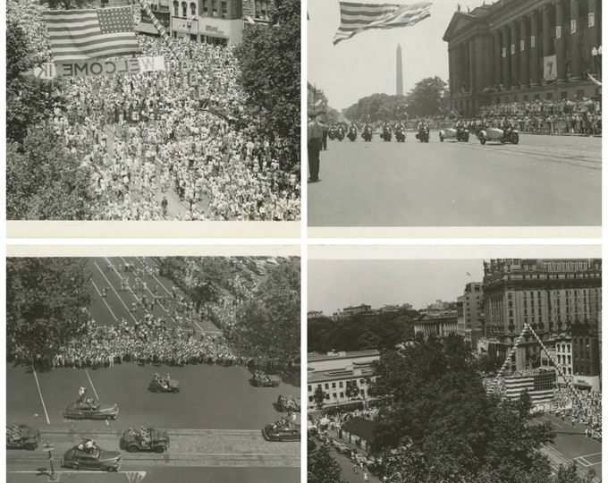 Set of 4 Vintage Snapshot Photos: Eisenhower Homecoming Victory Parade, Washington, D.C. 1945 [89721]