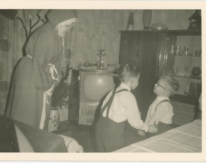 Introducing Little Brother to Santa, 1950s: Vintage Snapshot Photo [84669]