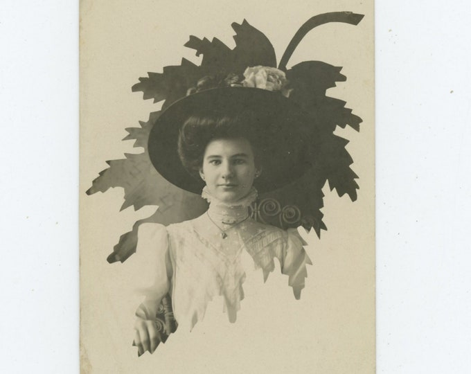 Vintage Portrait Photo RPPC: Beauty in Hat with Leaf Mat [86686]