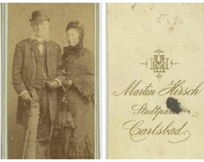 Unusual German CDV, Martin Hirsch Studio, Carlsbad: Vintage Portrait Photo[85670]