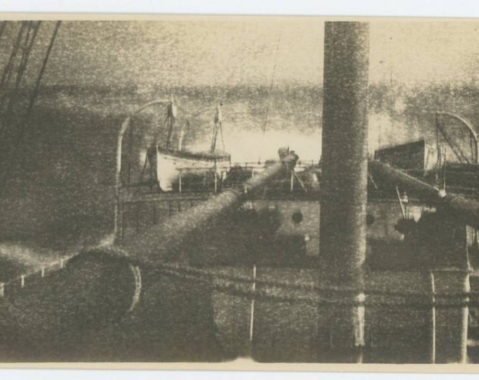 Vintage Snapshot Photo: Ship's Deck in Stormy Seas, c1910s (69505)