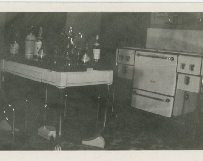 Vintage Snapshot Photo: Art Deco Kitchen Interior, c1930s [82652]