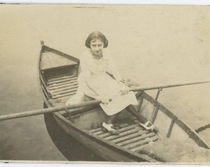Vintage Snapshot Photo: Rowboat, c1920s (81637]
