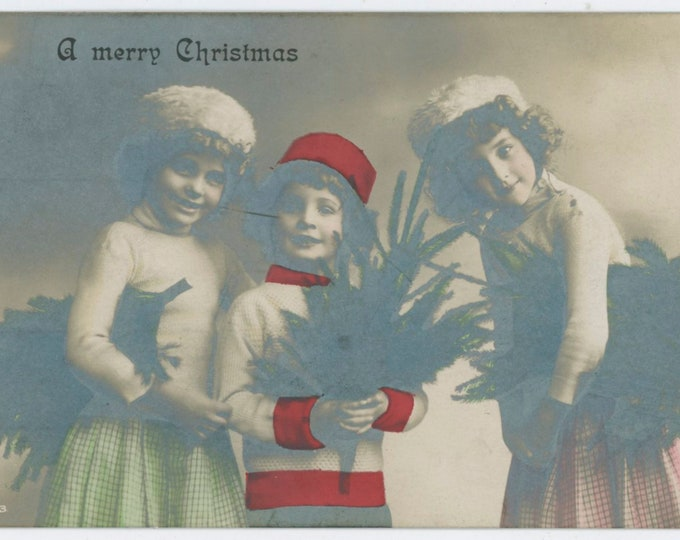 Vintage Partially Hand-Tinted Photo Postcard: A Merry Christmas, 1910 [812752]