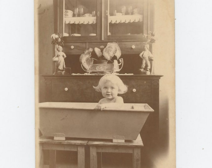 Croatian Child in Tub, 1926: Vintage Snapshot Photo [811742]