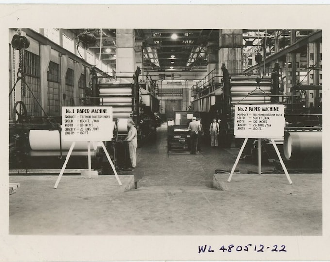 Telephone Directory Paper Machines, 1948: Vintage Snapshot Photo (88711)