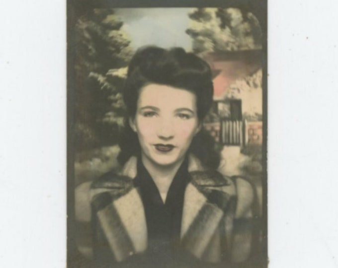Vintage Tinted  Arcade/Photo Booth, c1940s: Young Woman [89725]